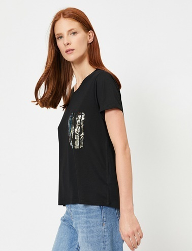 Koton Pul Detayli T-Shirt Siyah